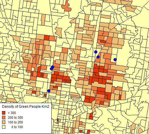 Define GIS with an example: Density of Greek People KM2